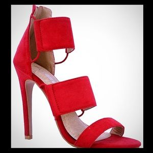 NEW Red Elastic Cut Out High Heel Faux Suede